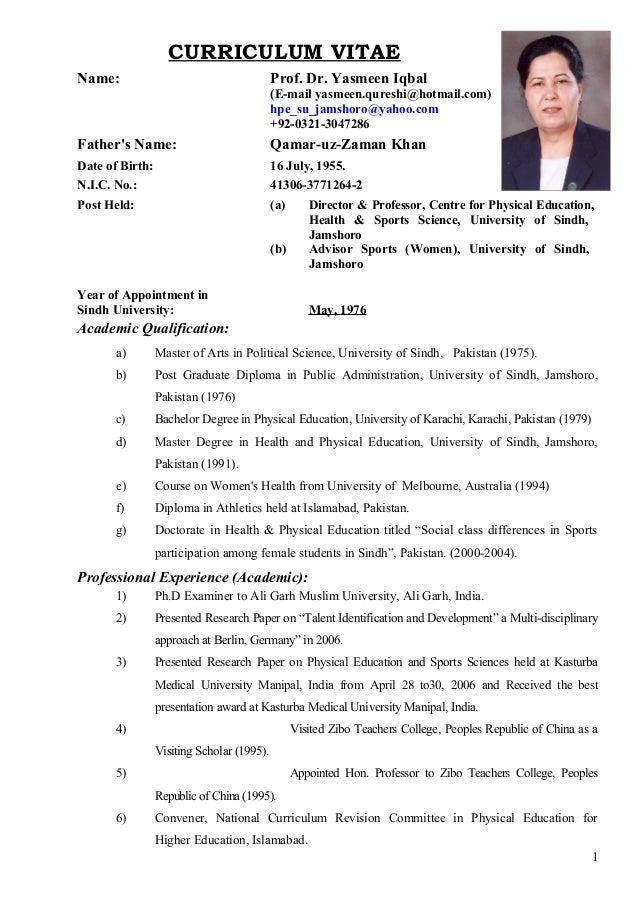 prof  dr  yasmeen iqbal cv