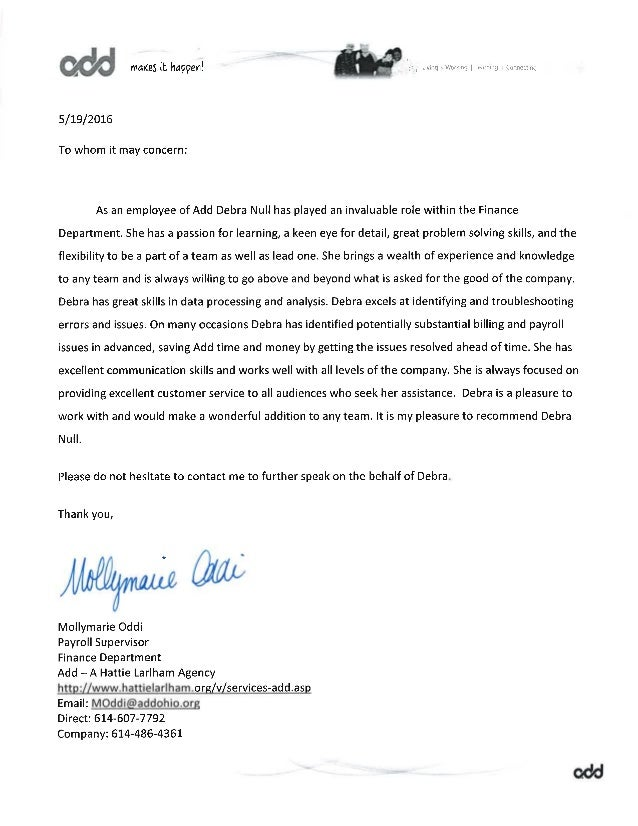 how to write a letter of recommendation for a coworker letter of recommendation from mollymarie payroll supervisor 39350
