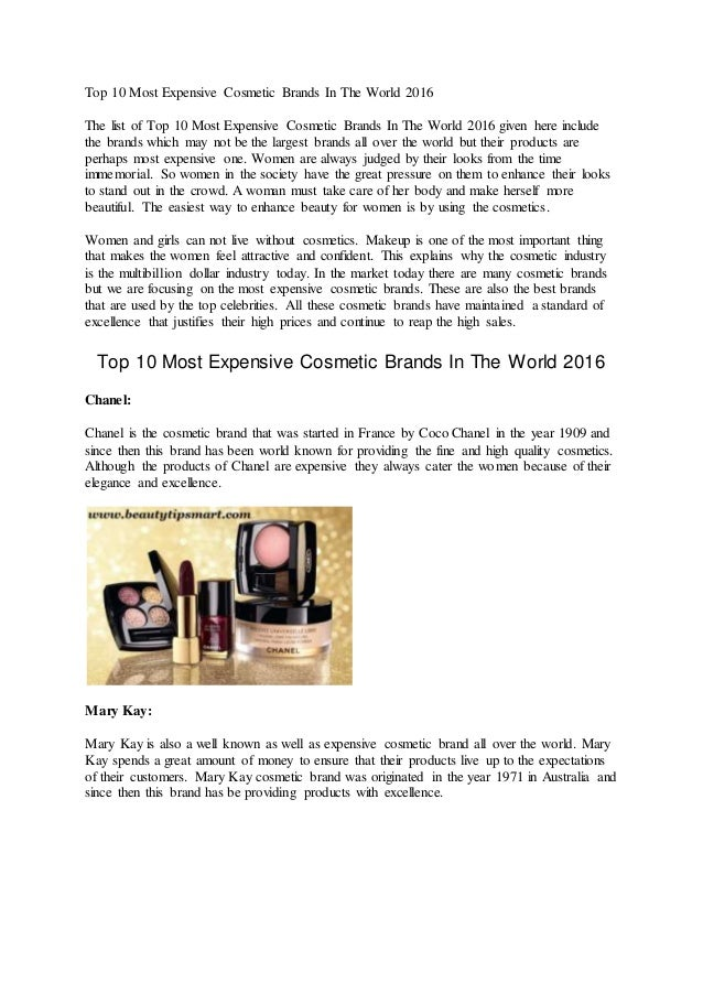 Top 10 Most Expensive Cosmetic Brands In The World 2016 The list of Top 10 Most ...
