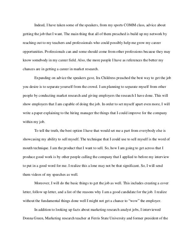 career exploration essay example example of career goal gse  career exploration paper for comm 499