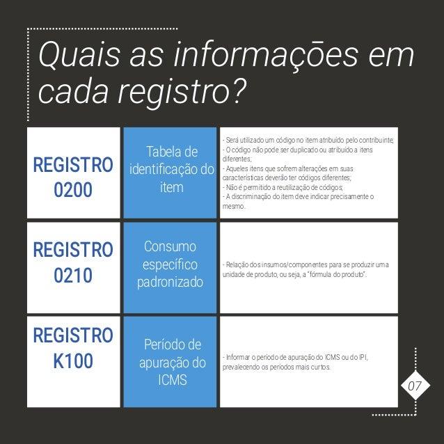 Quais as informaçōes em cada registro? REGISTRO 0200 Tabela de identificação do item - Será utilizado um código no item at...