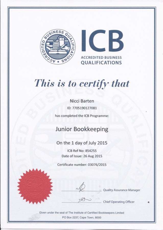ICB - Junior Bookkeeping Certificate