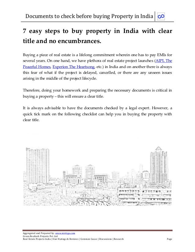 Documents to check before buying Property in IndiaAggregated and Prepared by: www.nirrtigo.comGreen Realtech Projects Pvt....