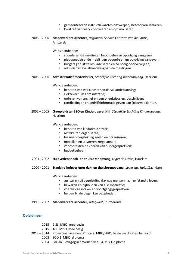 Curriculum Vitae J Sak Vlaanderen Aangepaste Pdf