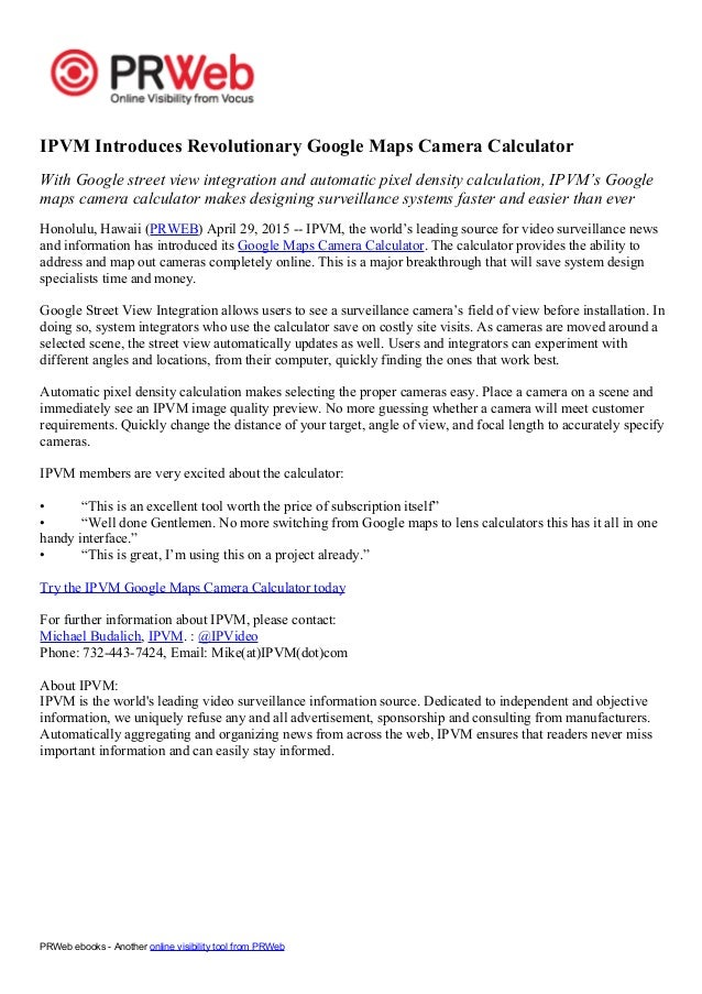 Google Maps Camera Calc press release