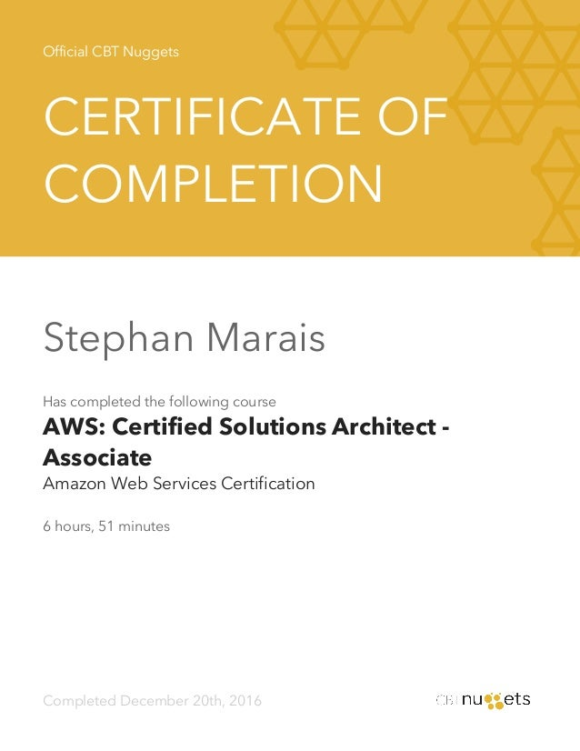 Certified solutions architect associate cbt nuggets for Certified architect