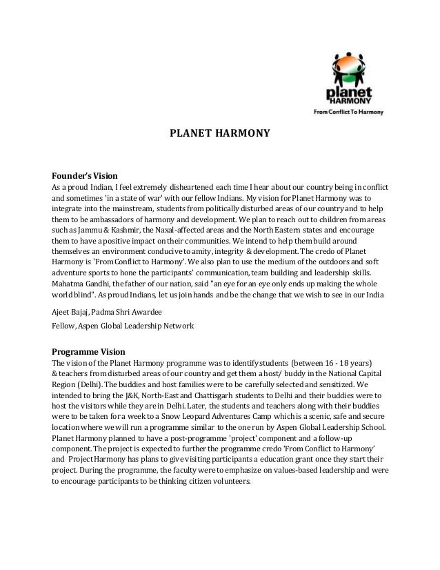 PLANET HARMONY Founder's Vision As a proud Indian, I feel extremely disheartened each time I hear about our country being ...