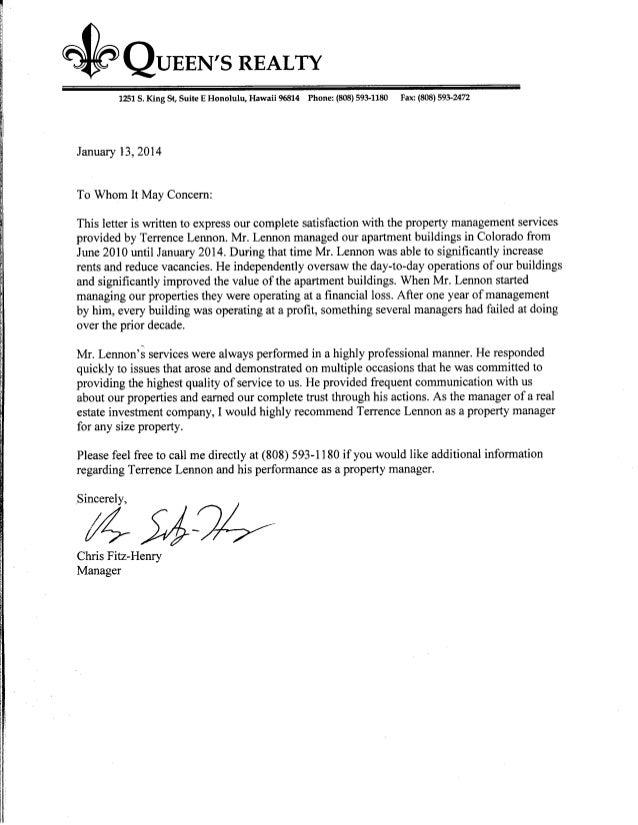 Terrence Lennon - Letter of recommendation