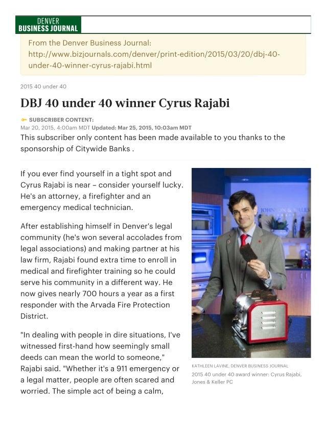 DBJ 40 under 40 winner Cyrus Rajabi - Denver Business Journal