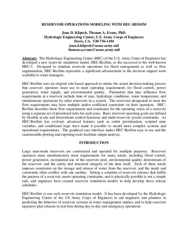 RESERVOIR OPERATIONS MODELING WITH HEC-RESSIM                         Joan D. Klipsch, Thomas A. Evans, PhD.              ...