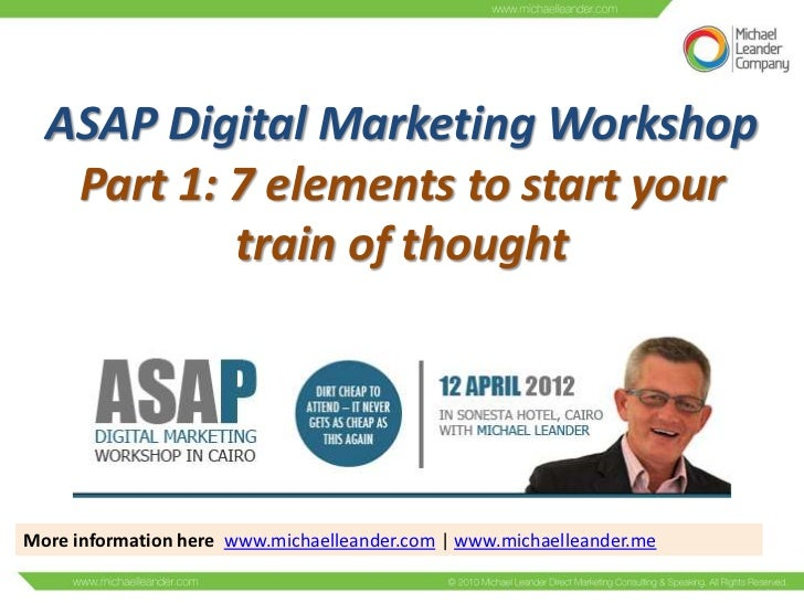ASAP Digital Marketing Workshop   Part 1: 7 elements to start your           train of thoughtMore information here www.mic...