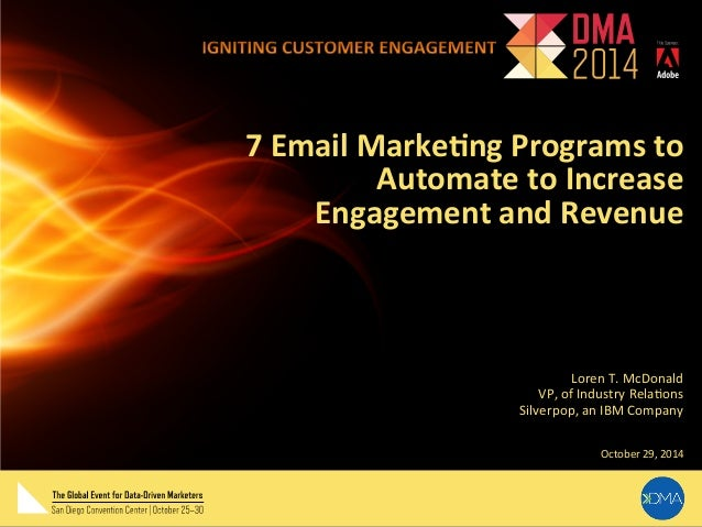 7  Email  Marke,ng  Programs  to  Automate  to  Increase  Engagement  and  Revenue  Loren  T.  McDonald  VP,  of  Industry...