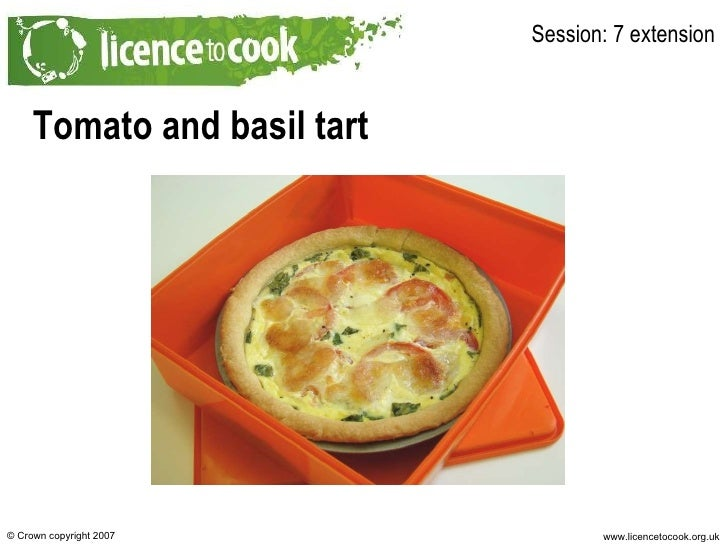 Tomato and basil tart Session: 7 extension