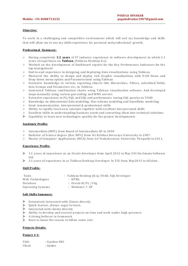 tableau developer resume india sql sle resume resume