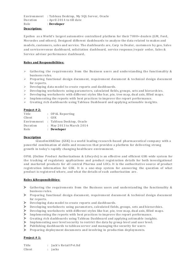 2 environment tableau desktop - Tableau Developer Resume