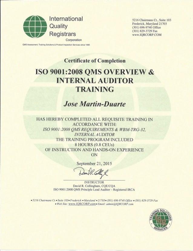 ISO Internal Auditor Certification