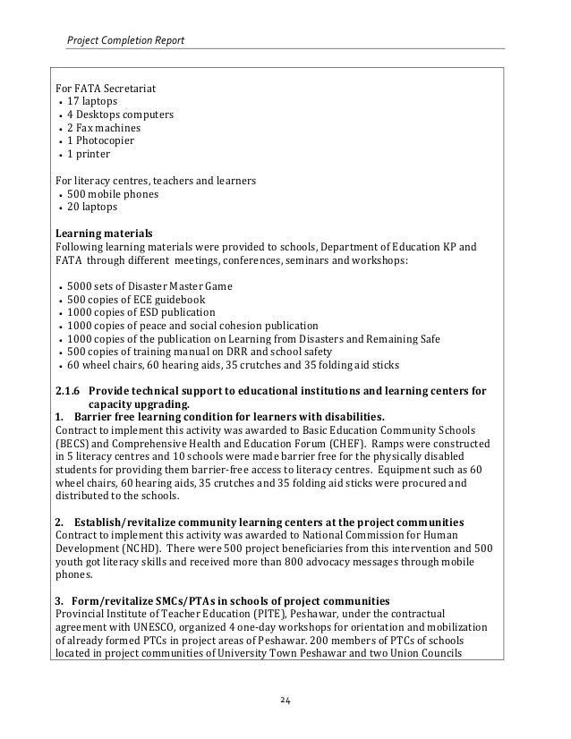 Sample job completion report 2015.