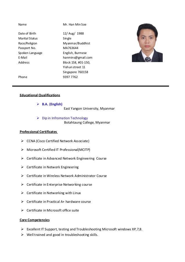 Han Min Soe S Cv