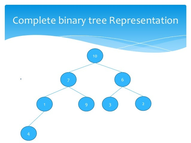 binary tree representations If the tree is not a complete binary tree then what changes can be made for easy access of  why is heap implemented using array representations than tree.