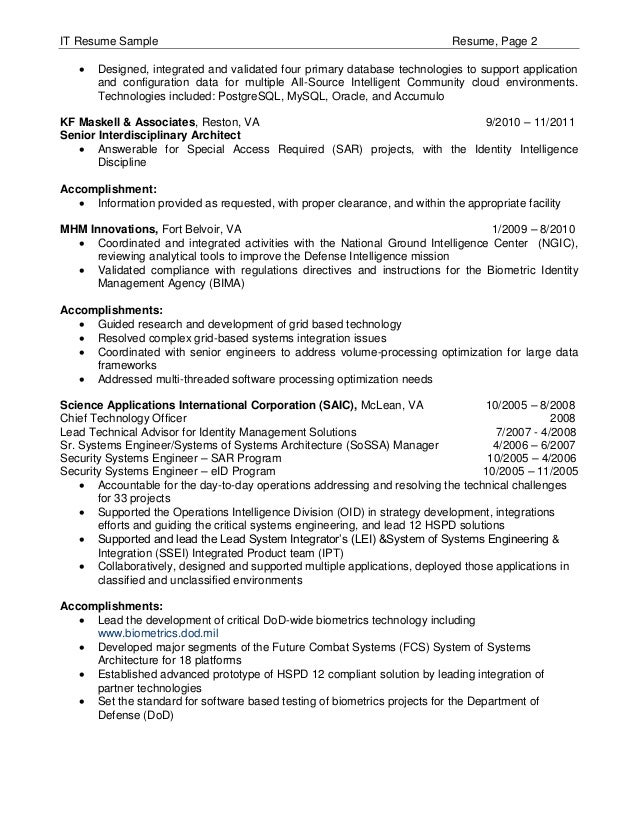 sample resume of it resume cv cover letter