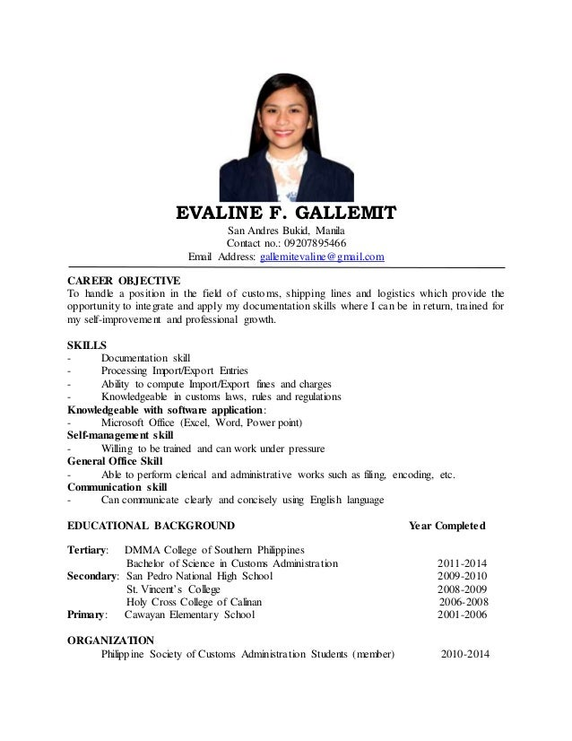 sample resume for ojt customs administration resume ixiplay free