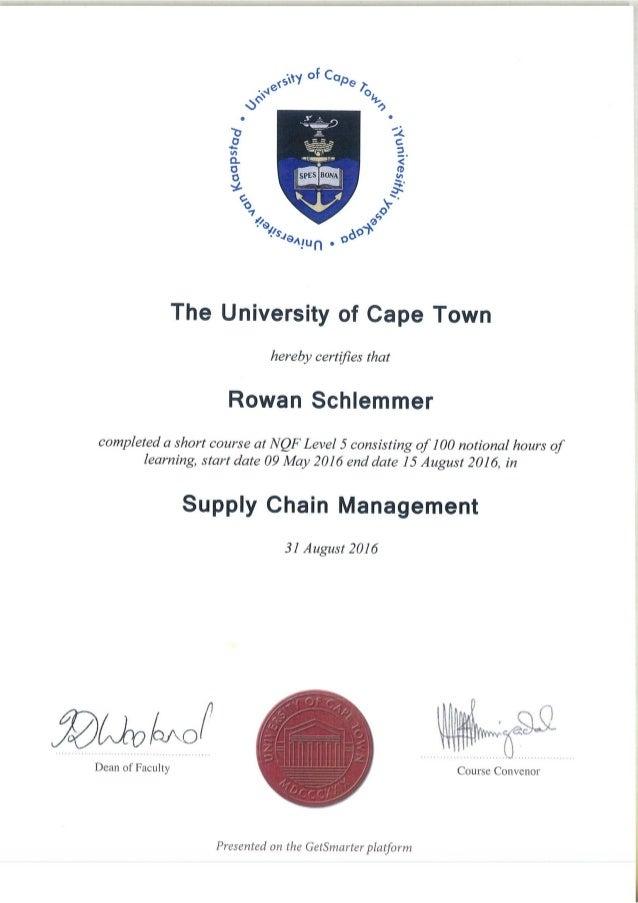 Rowan Schlemmer Supply Chain Management Certificate