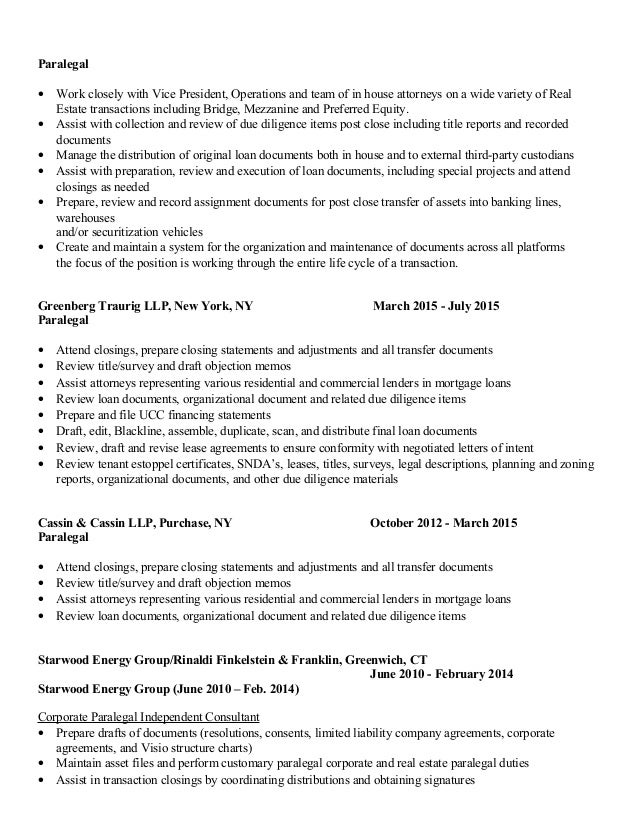maryanne picco paralegal resume real estate corporate