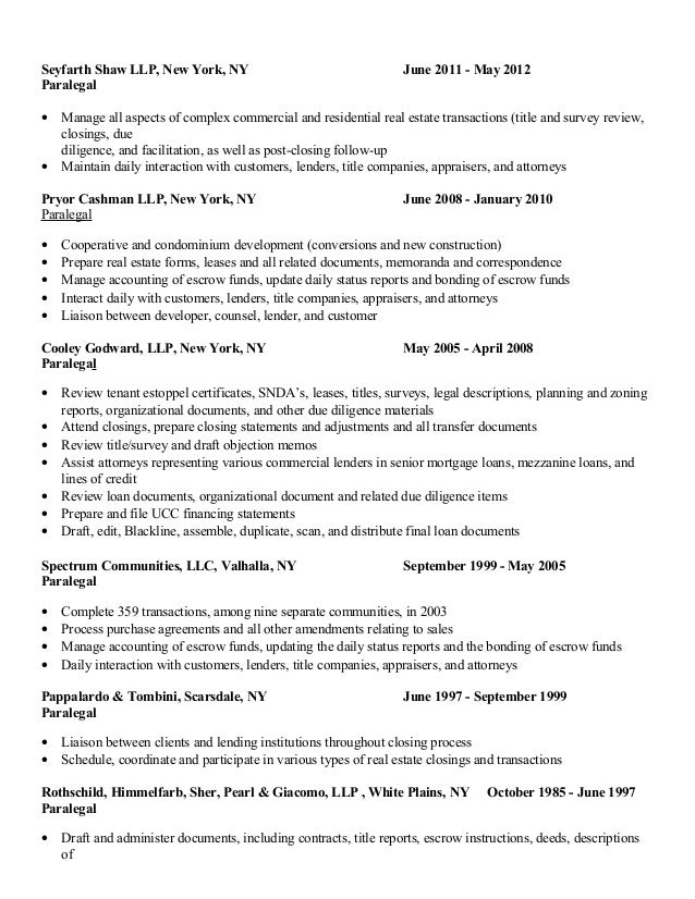 Maryanne Picco Paralegal Resume Real EstateCorporate