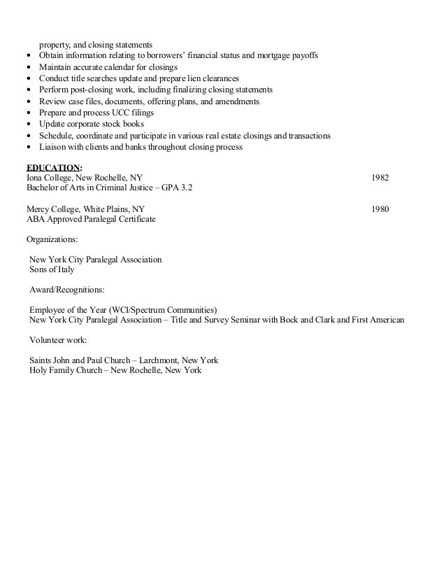 maryanne picco paralegal resume real estate