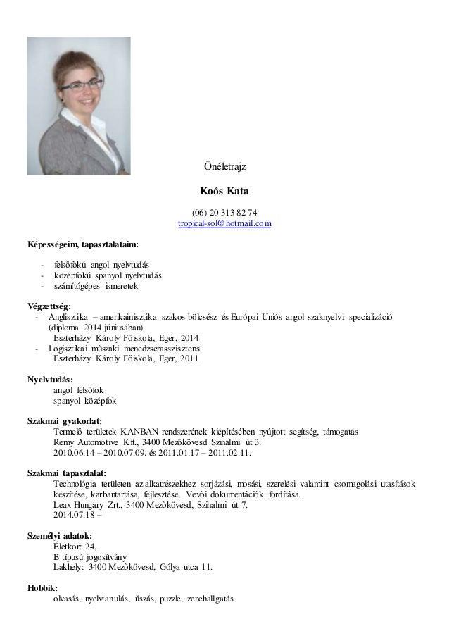 önéletrajz angol nyelvtudás Resume_Kata_Koos önéletrajz angol nyelvtudás