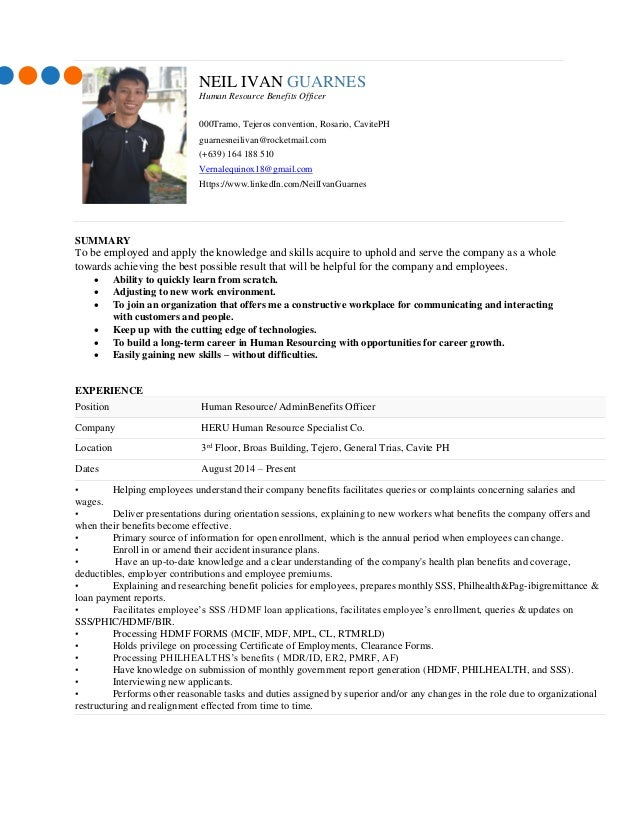 Self Assessment Latest Resume 04272015