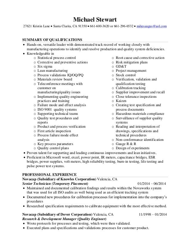 Mike Stewart Resume Quality Engineer 0112