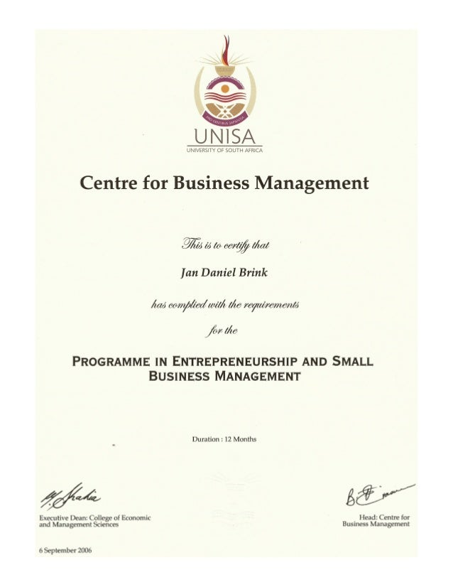 Diploma in small business management unisa sehatcoy business management certificate yelopaper Choice Image