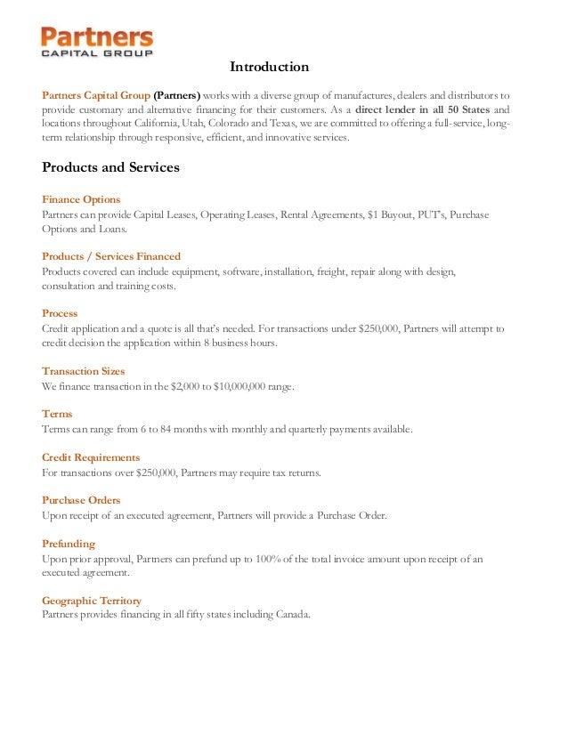 Partners Capital Vendor Presentation