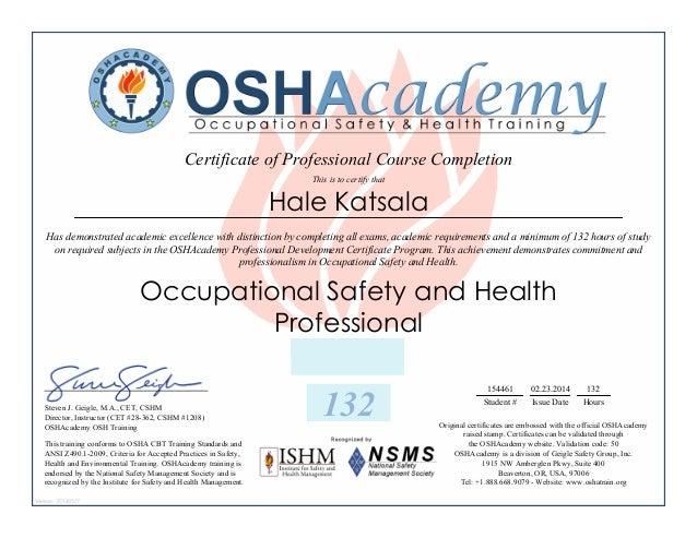 OSHA certificate professional