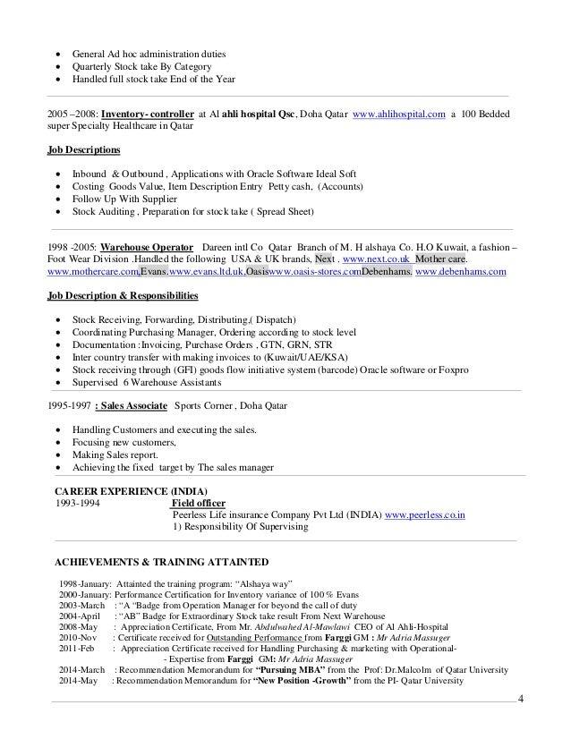 telephone 4 4 general ad hoc administration duties quarterly stock - Warehouse Stocker Job Description