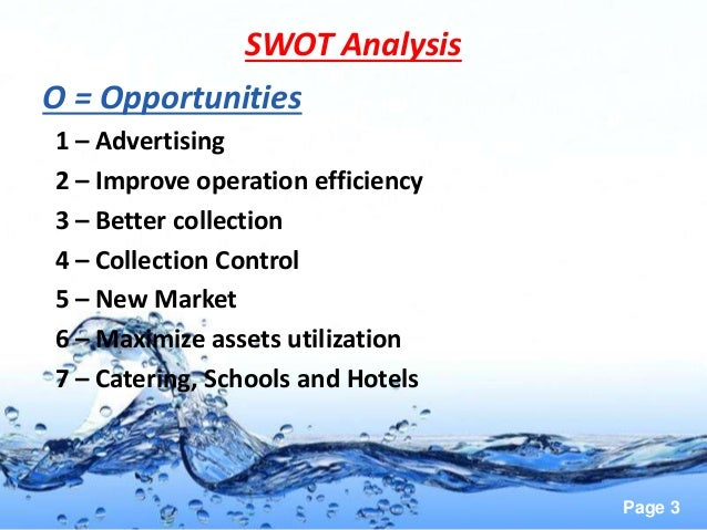 swot analysis bottled water Home swot analysis index bottled water swot analysis new technology new technology helps bottled water to better meet their customer's needs with new and.