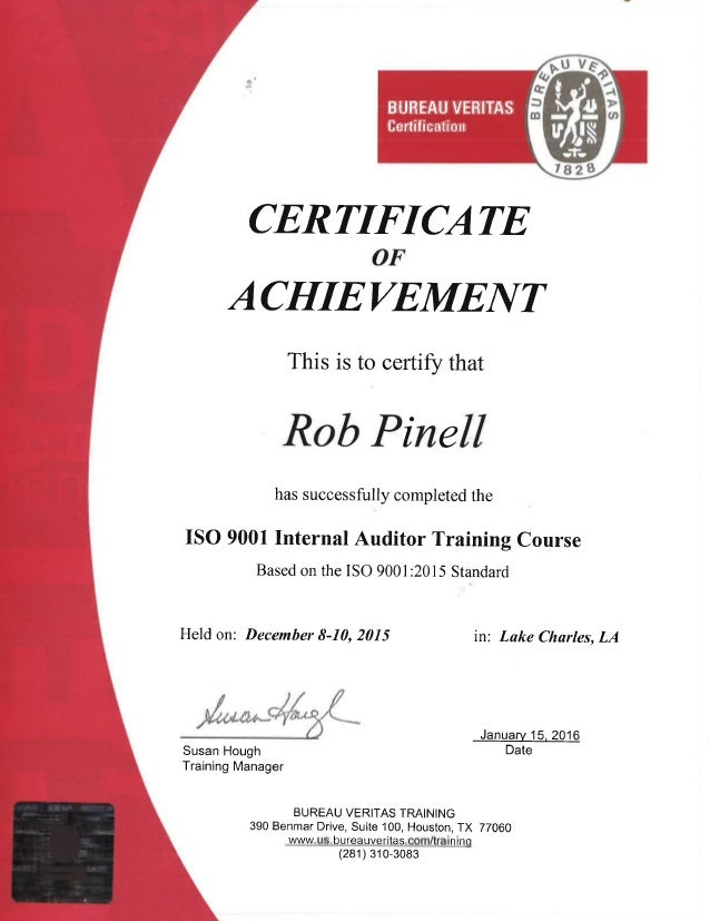 Rob Pinell   ISO 9001 2015 Training Certificate