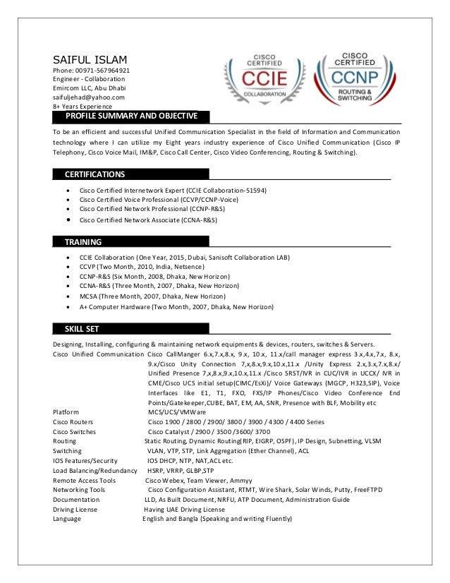 Cv Of Saif Ccie Collaboration