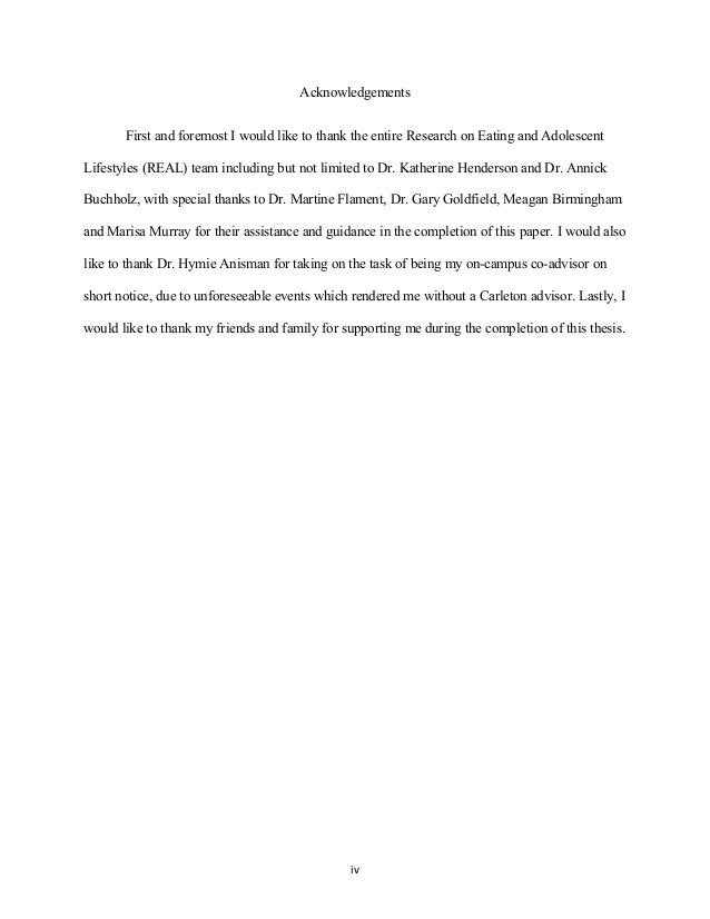 Acknowledgements First and foremost I would like to thank the entire Research on Eating and Adolescent Lifestyles (REAL) t...