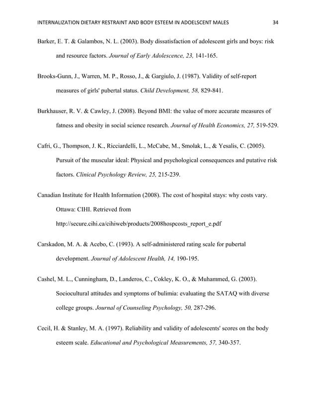 INTERNALIZATION DIETARY RESTRAINT AND BODY ESTEEM IN ADOELSCENT MALES 34 Barker, E. T. & Galambos, N. L. (2003). Body diss...