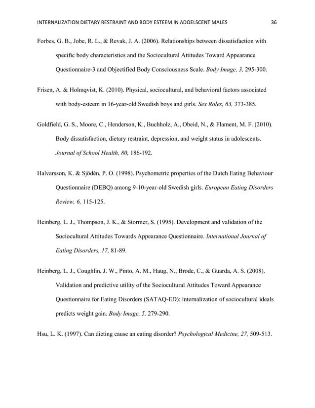 INTERNALIZATION DIETARY RESTRAINT AND BODY ESTEEM IN ADOELSCENT MALES 36 Forbes, G. B., Jobe, R. L., & Revak, J. A. (2006)...