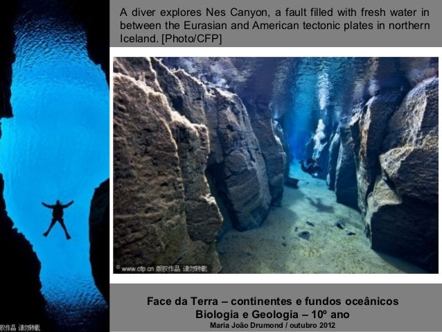 A diver explores Nes Canyon, a fault filled with fresh water inbetween the Eurasian and American tectonic plates in northe...
