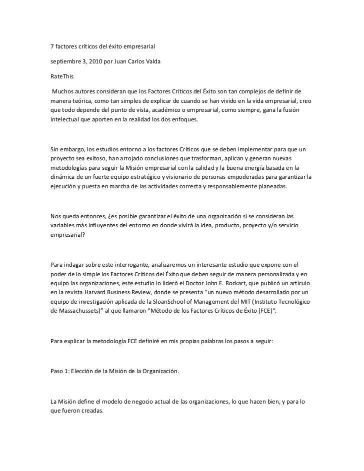 7 factores críticos del éxito empresarialseptiembre 3, 2010 por Juan Carlos ValdaRateThis Muchos autores consideran que lo...