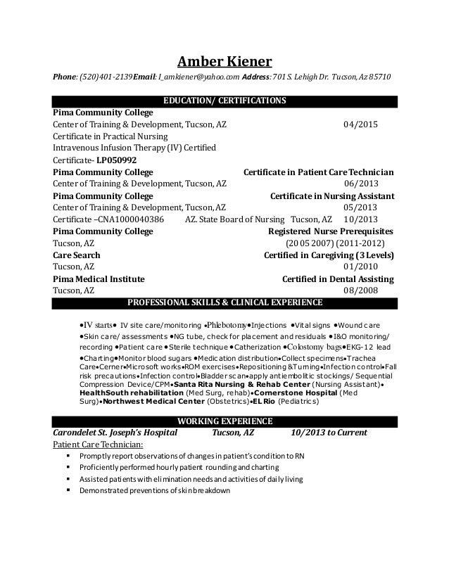 Sincerely, Amber M. Kiener; 2.  Lpn Resume