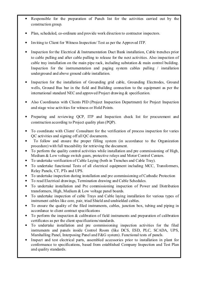 1 sharib reza cv for Punch list procedure
