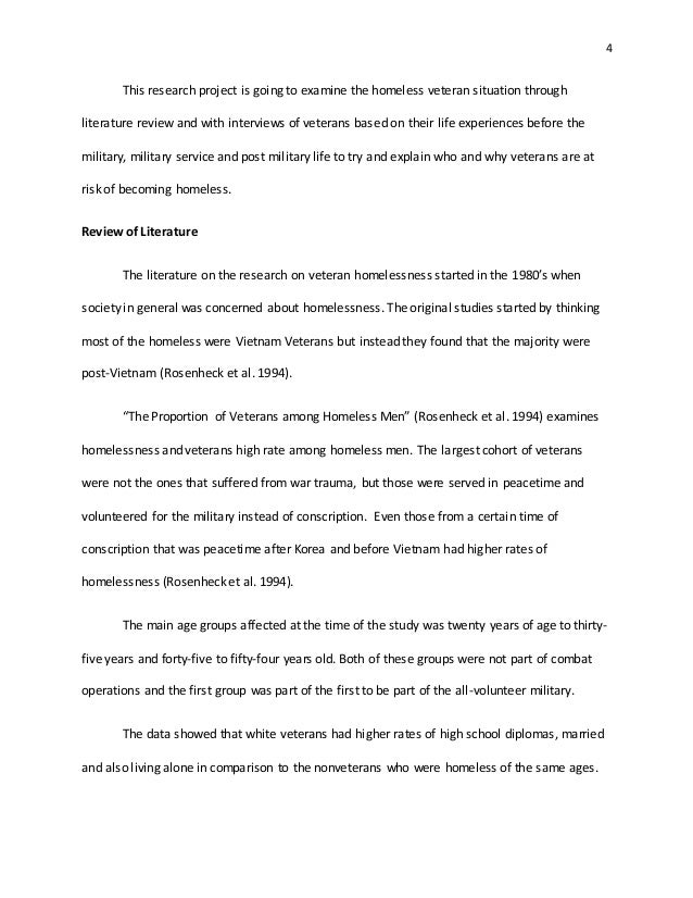 homeless veterans essay