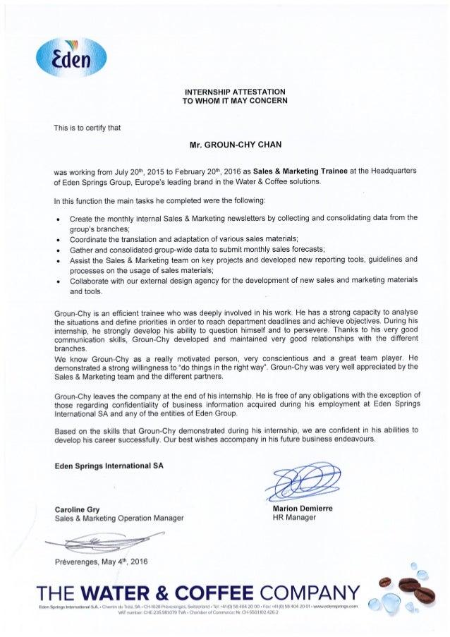letter + internship attestation