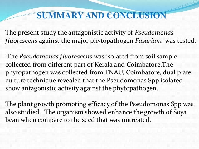 SUMMARY AND CONCLUSION The present study the antagonistic activity of Pseudomonas fluorescens against the major phytopatho...