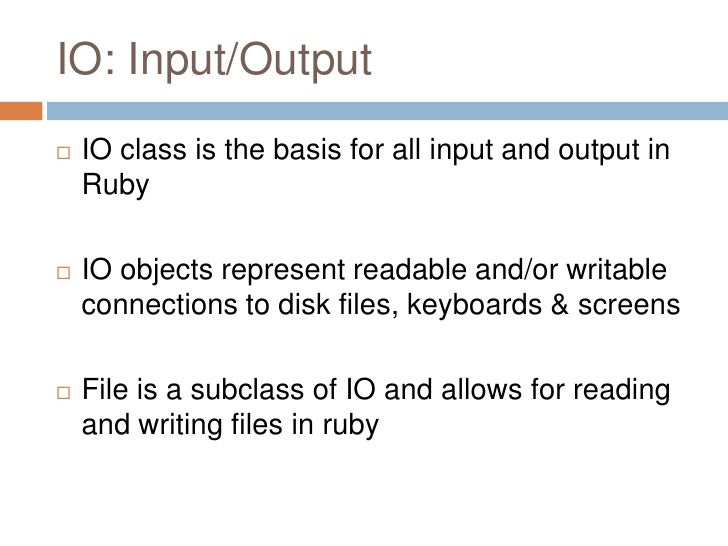 ruby file write Reading files are very simple in ruby than other languages this is the content of the file named sampletxt  w represents write mode to a file.
